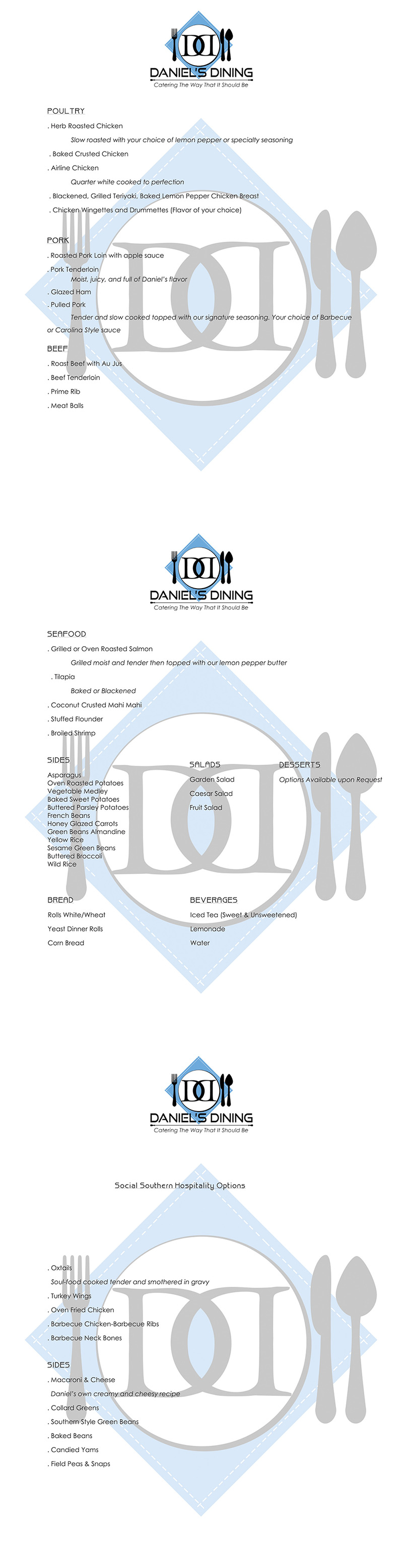 Catering Menus Daniels Dining Llc Of Chicken Wing Bones Diagram Make Your Reservation Today For Next Event